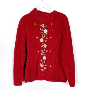 Red Knit Sweater with Embroidered Flowers …